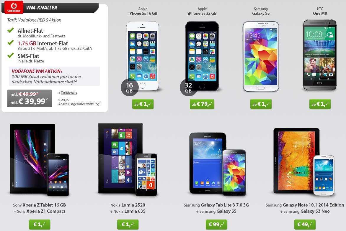 Top Smartphones + Tablets mit Vodafone Red S Allflat inkl. 1,75GB für monatl. 39,99€