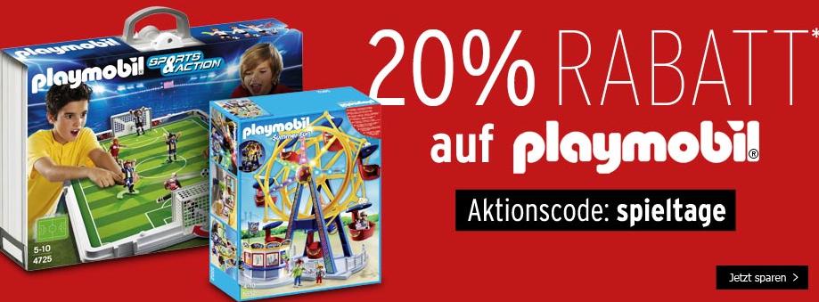 20% Extra Rabatt auf alle Playmobil Artikel bei Karstadt
