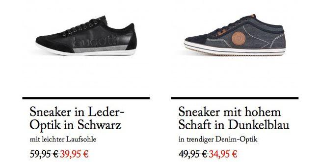 Bugatti Sneaker stark reduziert + 10€ Newsletter Gutschein