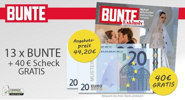 Bunte 14 Ausgaben BUNTE für effektiv 4,20€ dank Cashback und Lastschrift   Update