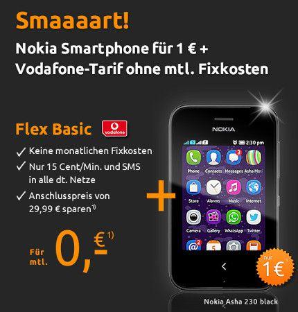 Crash Tarife Nokia Asha 230 für 1,15€ dank Schubladenvertrag von Crash Tarife