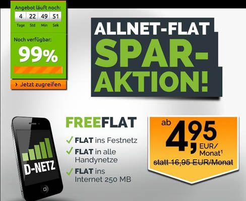 Kracher! Allnet Flat und Internet Flat (250MB UMTS) im D1 Netz für nur 8,28€ monatlich