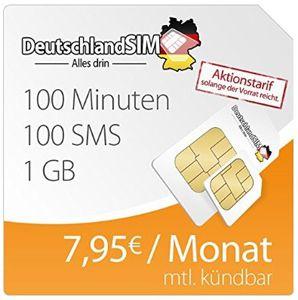 O² DeutschlandSIM mit 100SMS + 100 Minuten in alle Netze + 1GB Daten ab 7,95€   Update