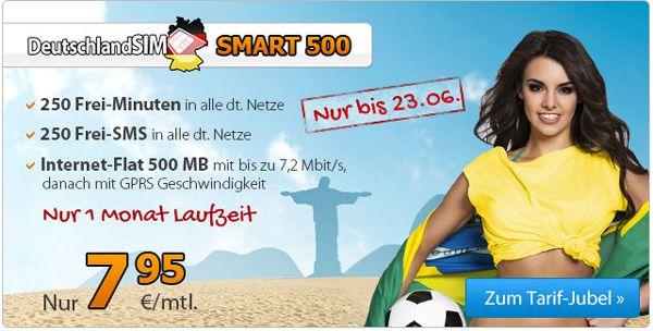 DeutschlandSIM Smart 500 für 7,95€/Monat ohne Laufzeit