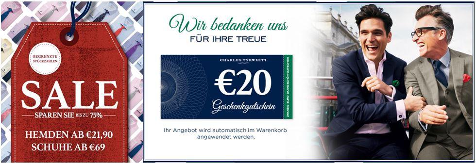 Charles Tyrwhitt Hemden Sale + 20€ Gutschein ohne MBW   Update!