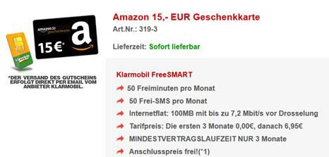 Klarmobil 15€ Amazon Gutschein + 3 Monate Klarmobil Smart Vertrag für lau!
