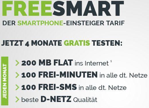 Knaller1 Knaller! 4 Monate freeSMART Kostenlos telefonieren (4 x 100min. + 4 x 100SMS + InetFlat) im Wert von 40€   Update!