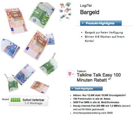Logitel Talk 100 Talkline Talk Easy 100 Tarif (100 Freiminuten, 3.000 SMS + Internet Flat) dank Bargeldzahlung für effektiv 1,99€ monatlich