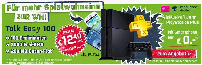 Sony Playstation 4 + Samsung Galaxy S3 Mini + Talkline Talk Easy 100 Tarif für effektiv  9,79€ (Gewinn!)