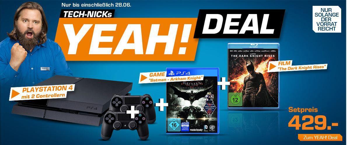 Playstation 4 + Game Batman: Arkham Knight für 395€ oder + The Dark Knight Rises + Controller ab 424€