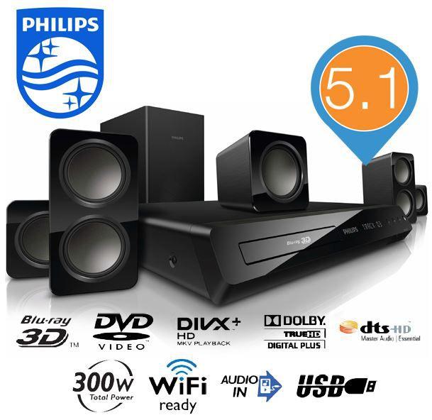 Philips HTB3560   3D Blu Ray 5.1 Heimkino System für 128,90€   wieder da!