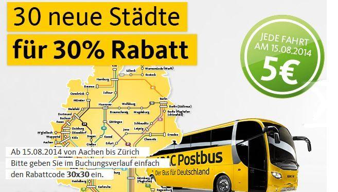 ADAC Postbus Fernreisen am 15.08. jede Fahrt nur 5€ + 30% Rabatt auf neue Strecken