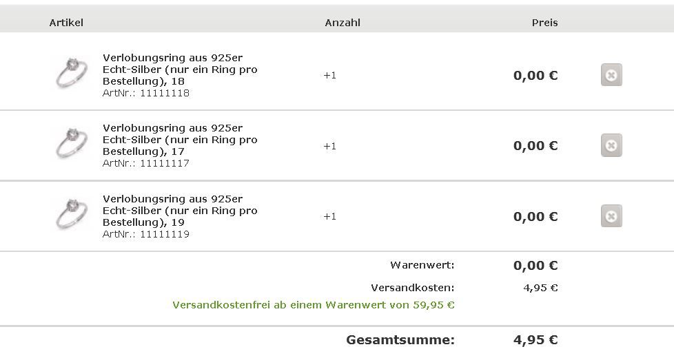 Ring1 Silvity.de Sterling Silber Verlobungsring ab 4,95€ + Gutscheine