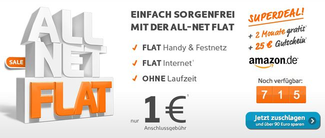 Simyo Aktion 2 Monate Simyo All Net Flat mit Internet Flat + 25€ Amazon Gutschein für nur 1€! Update