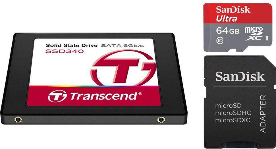 SanDisk Ultra microSDXC 64GB Class 10 für 28,90€ & Transcend 128GB SSD für 54,99€ @Amazon