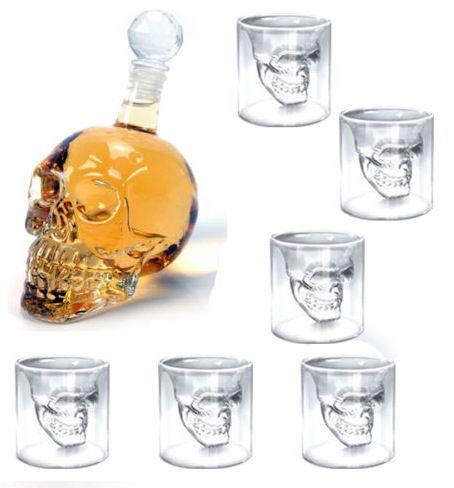Totenkopf Karaffe + 6x Totenkopf Gläser (6 cl) für 20,90€