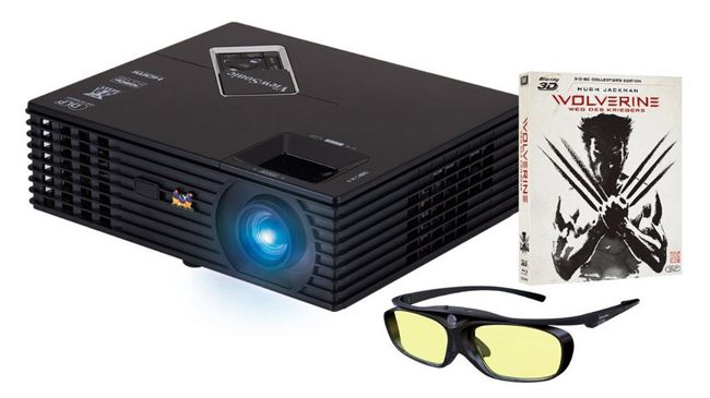 Viewsonic PJD7820HD Full HD Beamer (3.000 Lumen) Wolverine Bundle (3D Blu ray + 3D Brille) für 529€