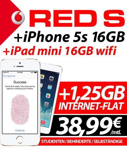 Apple iPhone 5s 16GB + iPad mini 16GB Wifi + Ampya Flat mit Vodafone Allnet Flat und LTE (junge Leute, Studenten, Behinderte, Selbständige, Firmen) für nur 38,99€ monatlich