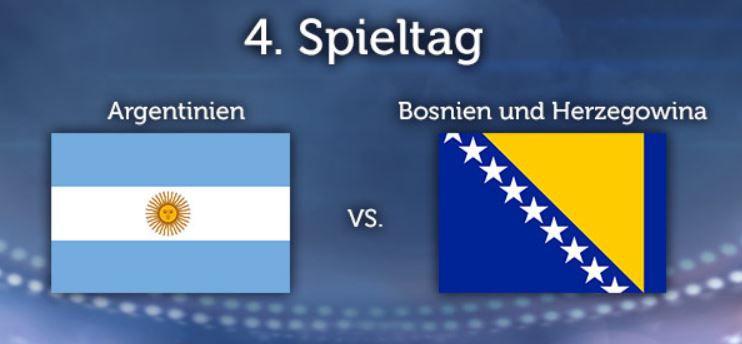 WM Tipp WM Tippgewinnspiel 4. Spieltag: Argentinien vsBosnien Herzegowina
