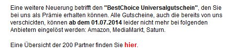 Info: BestChoice ab 01.07. ohne Amazon, Media Markt und Saturn