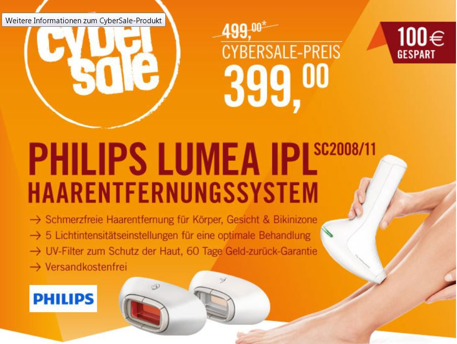 cyber3 Philips SC2008/11 Lumea Precision Plus   inklusive Gesichts und Bikini Aufsatz für 399€