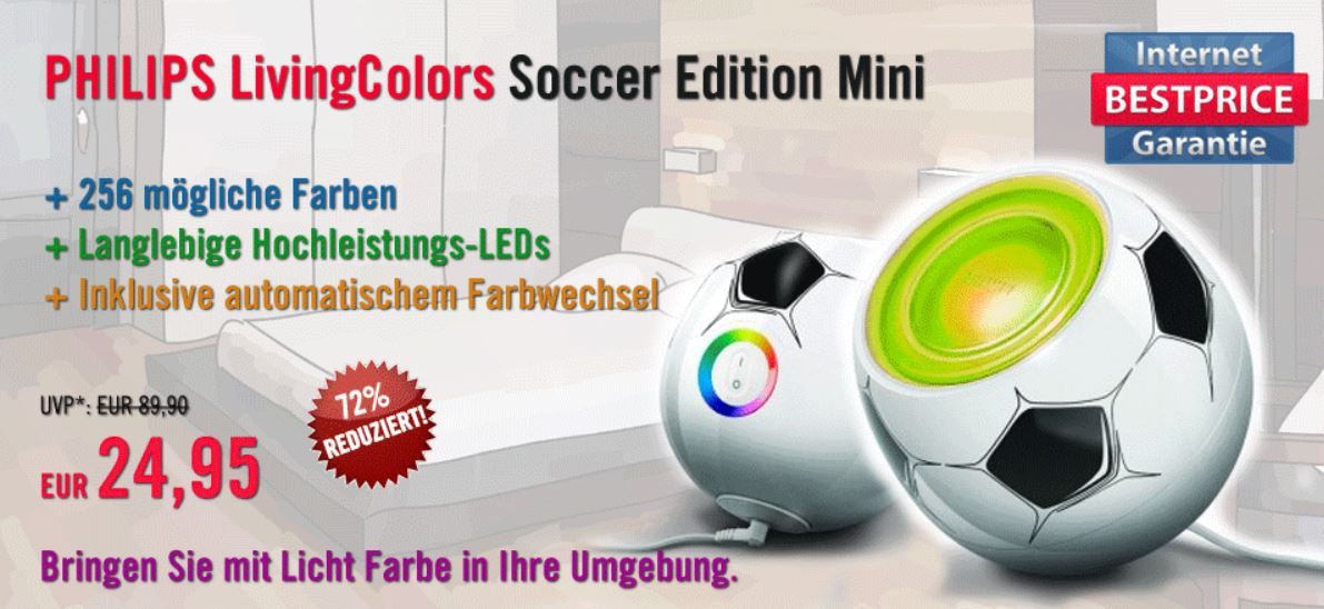 PHILIPS LivingColors mini   LED Leucht in der Soccer Edition für 19,95€