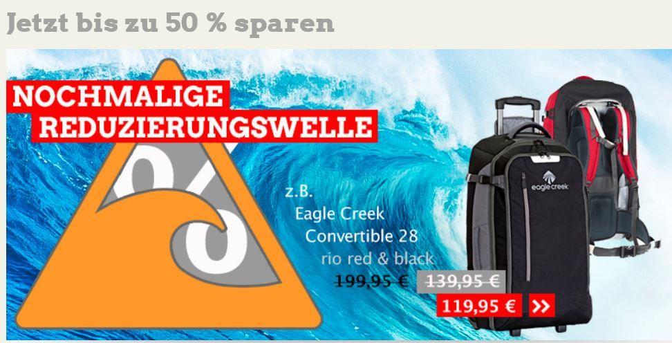 Neuer Globetrotter Sale mit Rabatten bis zu 50%   z.B. Rucksack Eagle Creek Convertible 28 für nur 120€