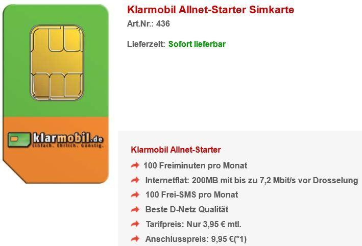 Klarmobil AllNet Starter Aktion: 100 Minuten/100SMS 200MB Flat für nur 3,95€ monatl.