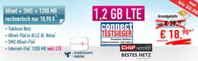 Allnet + SMS Flat im Netz der Telekom + 1,2GB Datenflat für effektiv nur 18,90€ monatl.