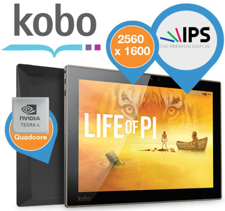 ibood10 Kobo Arc 10HD   10Zoll Android Tablet mit 2560 x 1600 Auflösung für 175,90€ Update!