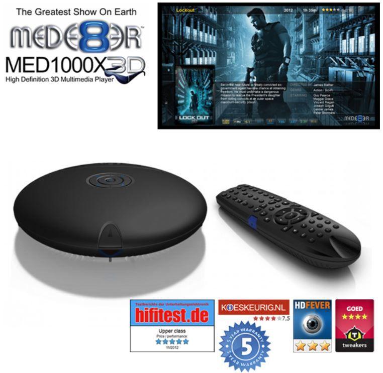 Mede8er MED1000X3D   3D Media Player mit Platz für eine 3,5 Zoll Festplatte für 135,90€