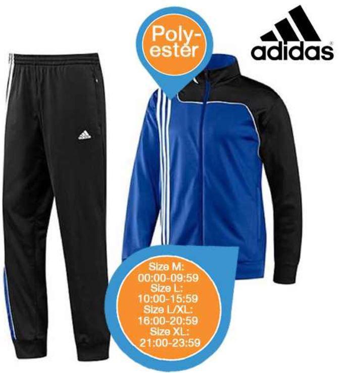 Adidas Sereno 11   Trainingsanzug in Kobaltblau / Schwarz für 42,90€