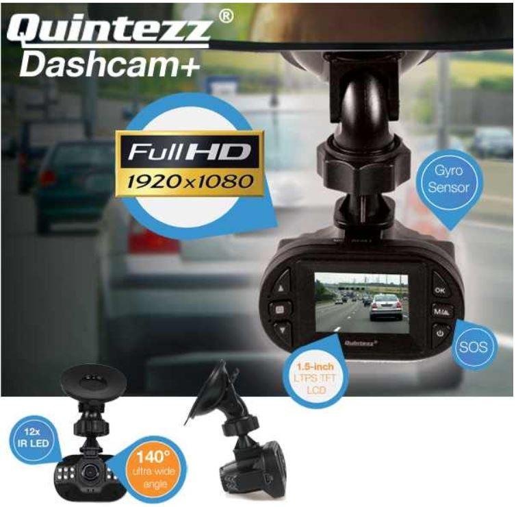 Quintezz Full HD Dashcam+ mit 140° Ultra Weitwinkel Objektiv und G sensor für 35,90€