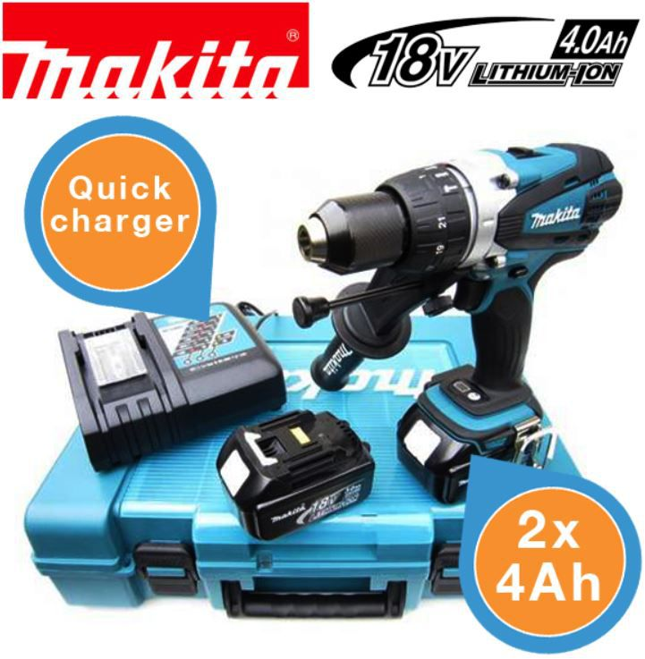 Makita DHP458RME   18V Li Akku Kompakt Schrauber mit zwei 4 Ah Akkus im Koffer für 308,90€