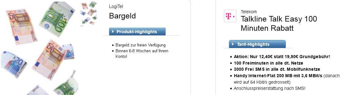 logitel Telekom Talkline Talk Easy 100 Vertrag   dank Auszahlung nur 1,98€ monatl. Kosten   Update