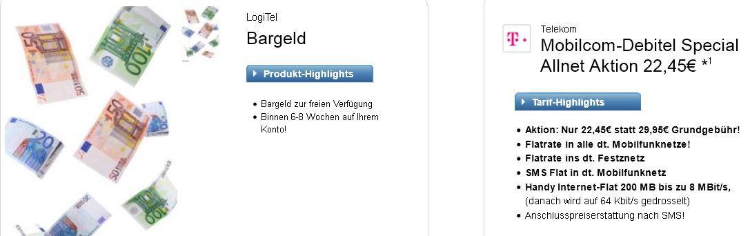 Telekom Debitel Special Allnet Aktion inkl. SMS Flat dank Auszahlung für effektiv nur 8,99€ montl.