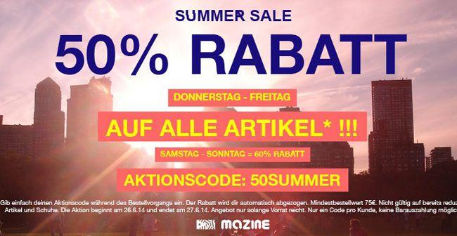 Mazine Onlineshop: 50% Rabatt auf ALLES (außer reduzierte Ware und Schuhe) + kostenloser Versand