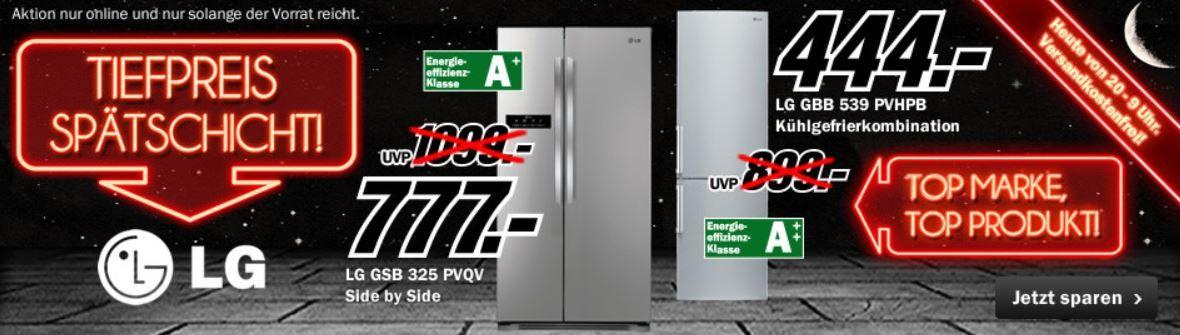 mediamarkt1 GSB 325 PVQV Side by SideKühlschrank für 777€ oder GBB 539 PVHPB Kühlgefrierkombinationen für 444€