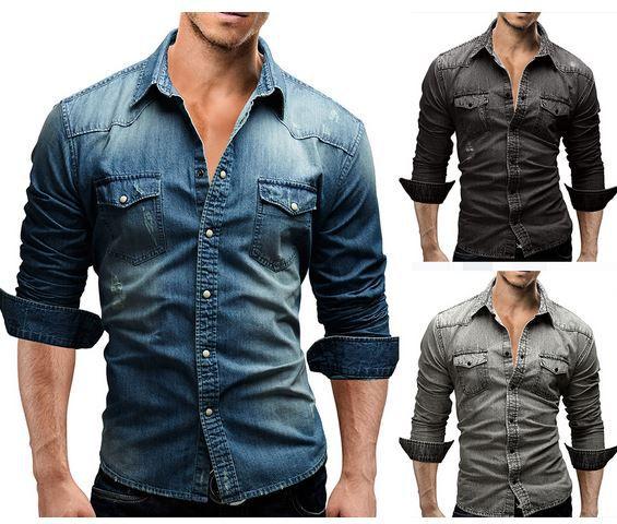 merrish Hemden MERISH 46   Herren Jeans Denim Hemd für 19,90€