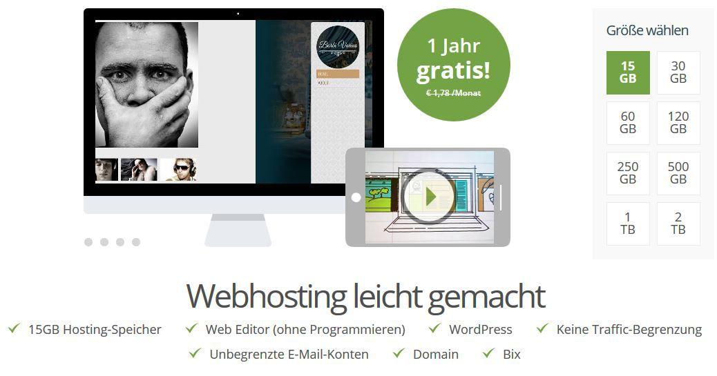 one 1 Jahr Webspace + .de oder .com Domain kostenlos   Update!