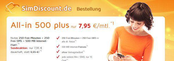 simdiscount Für 7,95€: Simdiscount mit 250 Minuten, 250 SMS, 500MB