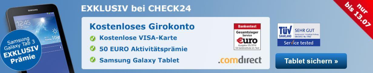 Kostenloses .comdirect Girokonto + 50€ Startguthaben + Samsung Galaxy Tab 3 7.0 (Wert100€)