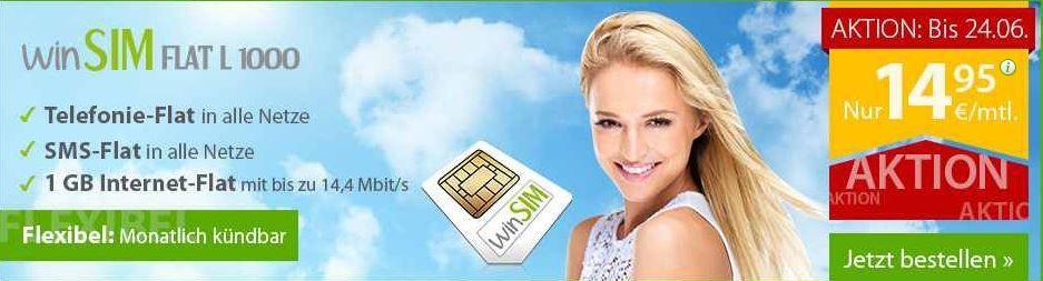 winsim winSIM mit All Net + SMS + 1 GB Daten Flat für monatlich 14,95€ ohne Laufzeit