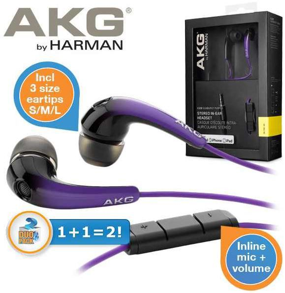 AKG K328   Doppelpack Noise Cancelling In Ears mit Mikro und Lautstärkeregelung für 25,90€ statt 55,46€