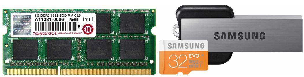 Samsung EVO 32GB microSDHC Class 10 für 24,90€ + Transcend Arbeitsspeicher 8GB DDR3 (Notebook) für 61,90€