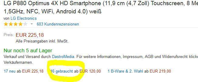 Auswahl LG Smartphones mit 15% Rabatt auf B Ware   in den Amazon Ware House Deals nur am Wochenende!