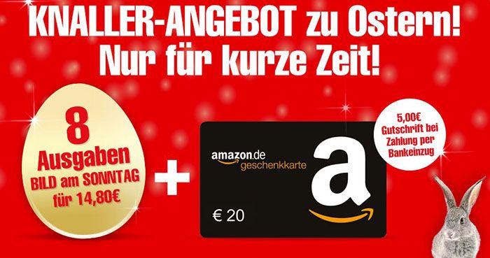 Bild am Sonntag   8 Ausgaben für 14,80€ + 20€ Gutschein & 5€ Rabatt