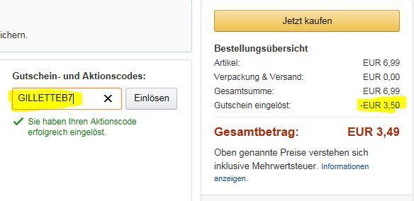 Gillette Body Rasierer   dank Gutschein nur 3,49€ statt 6,99€