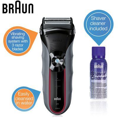 Braun Series 3 320s 4 Rasierer (3 Rasierklingen + integrierter Trimmer) + Reinigungsspray für 45,90€