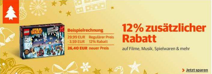 Buch Buch.de: 12% Sonder Rabatt auf Filme, Musik, Spielwaren und Hörbücher   Update